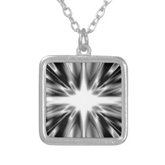 Shiny black and white star silver plated necklace