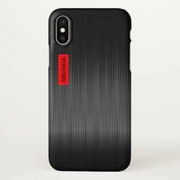 Beach Themed Shiny Black Carbon Fiber Texture iPhone X Case