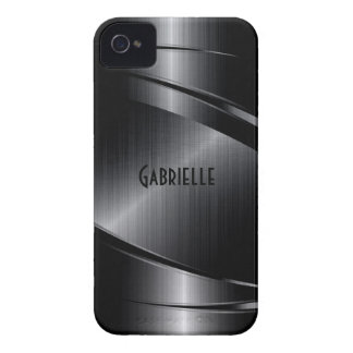 Shiny Black Design Brushed Aluminum Look iPhone 4 Case-Mate Case