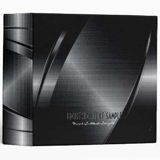 Shiny Black Metallic Brushed Aluminum Look Binder