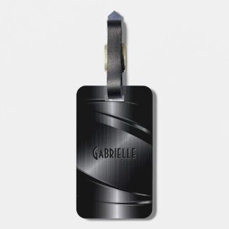 Shiny Black Metallic Brushed Aluminum Look Tag For Luggage