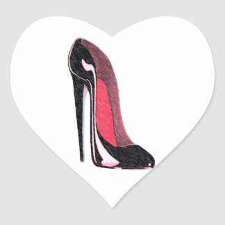 Shiny Black Stiletto Shoe Heart Sticker