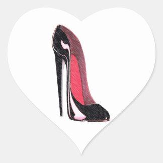 Shiny Black Stiletto Shoe Heart Sticker