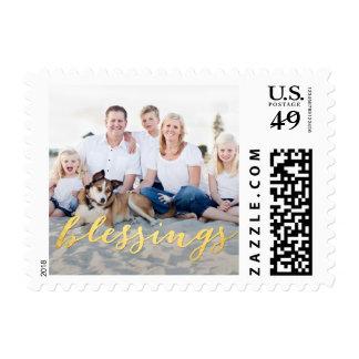 Shiny Blessings Custom Holiday Photo Stamp
