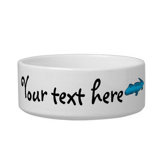 Shiny blue alligator cat water bowl