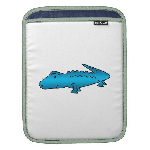 Shiny blue alligator sleeves for iPads