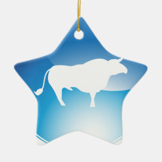 Shiny Blue Bull Round Icon Double-Sided Star Ceramic Christmas Ornament