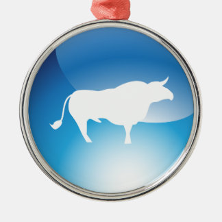 Shiny Blue Bull Round Icon Round Metal Christmas Ornament