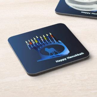 Shiny Blue Chanukkah Menorah Beverage Coaster