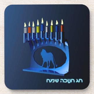 Shiny Blue Chanukkah Menorah Coaster