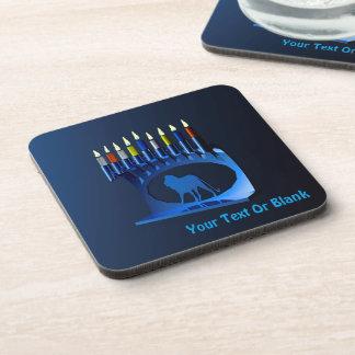 Shiny Blue Chanukkah Menorah Drink Coaster