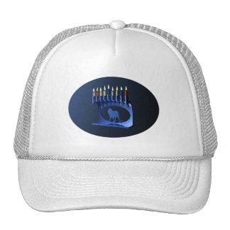 Shiny Blue Chanukkah Menorah Trucker Hat