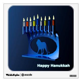 Shiny Blue Chanukkah Menorah Wall Sticker