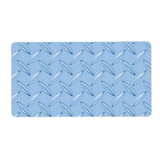 shiny blue diamond plate textured label