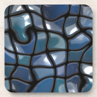 Shiny Blue Distorted Tiles Coasters