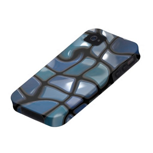 Shiny Blue Distorted Tiles iPhone 4 Cover