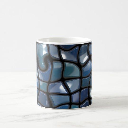 Shiny Blue Distorted Tiles Magic Mug