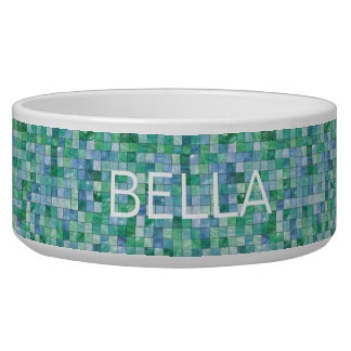 Shiny Blue Green Faux Glass Block Tile Mosaic Bowl