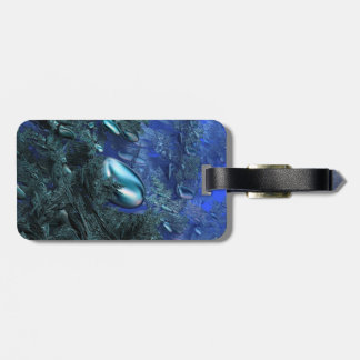 Shiny blue pebbles bag tag
