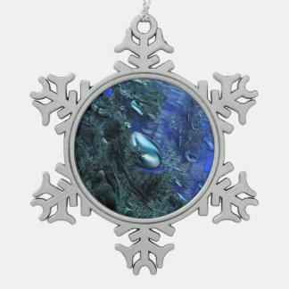 Shiny blue pebbles snowflake pewter christmas ornament