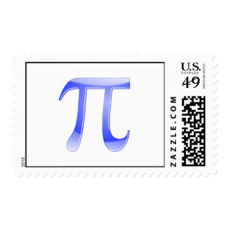Shiny  Blue Pi Symbol Postage Stamp