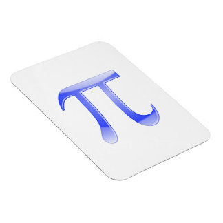 Shiny  Blue Pi Symbol Rectangular Photo Magnet