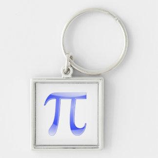 Shiny  Blue Pi Symbol Silver-Colored Square Keychain