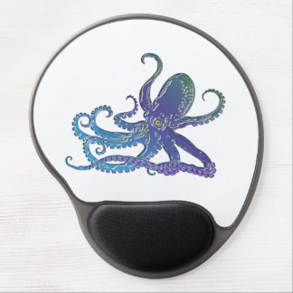 Shiny Blue & Purple Graphic Octopus Gel Mouse Pad