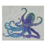 Shiny Blue & Purple Graphic Octopus Print