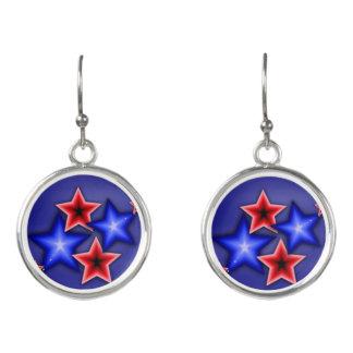 Shiny Blue & Red Stars Earrings