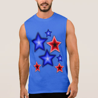 Shiny Blue & Red Stars Sleeveless Shirt
