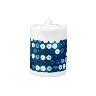 shiny blue sequins teapot