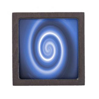 Shiny blue spiral pattern jewelry box