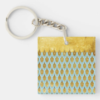 Shiny Blue Teal Glitter Mermaid Fish Scales Keychain