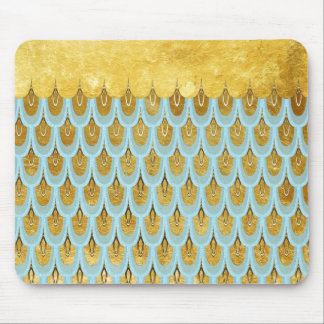 Shiny Blue Teal Glitter Mermaid Fish Scales Mouse Pad