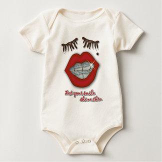 Shiny Braces, Red Lips, Mole, and Thick Eyelashes Baby Bodysuit