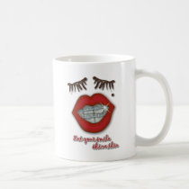 Shiny Braces, Red Lips, Mole, and Thick Eyelashes Coffee Mug