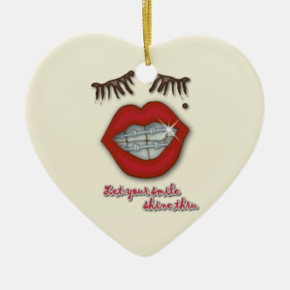 Shiny Braces, Red Lips, Mole, and Thick Eyelashes Double-Sided Heart Ceramic Christmas Ornament
