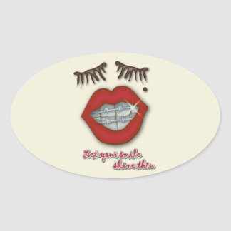 Shiny Braces Red Lips Mole and Thick Eyelashes Sticker