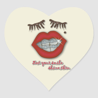 Shiny Braces Red Lips Mole and Thick Eyelashes Stickers