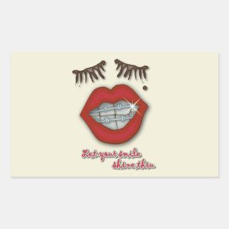Shiny Braces Red Lips Mole and Thick Eyelashes Rectangle Sticker