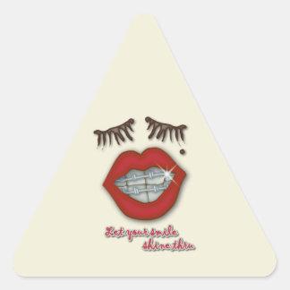 Shiny Braces Red Lips Mole and Thick Eyelashes Triangle Sticker