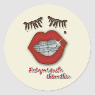 Shiny Braces Red Lips Mole and Thick Eyelashes Round Stickers