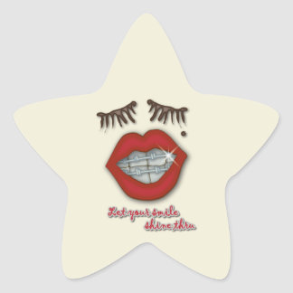 Shiny Braces Red Lips Mole and Thick Eyelashes Star Sticker