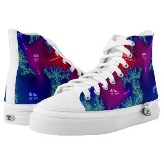 Shiny Bright Fractal Art Printed Shoes