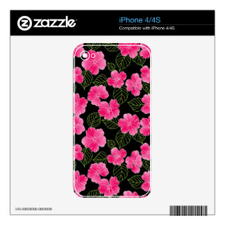 Shiny bright pink flowers,green leaves on black iPhone 4 skins