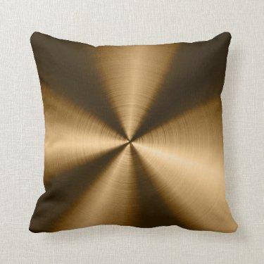Shiny Brown Metallic Stainless Steel Look Throw Pillows
