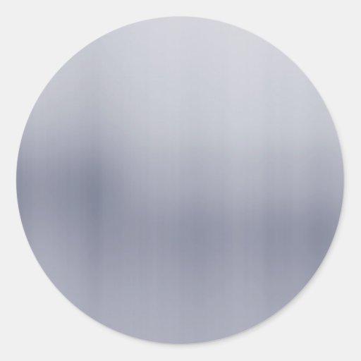 Shiny Brushed Aluminum Textured Classic Round Sticker