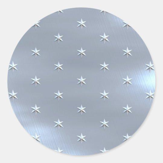 Shiny Brushed Star Metallic Texture Classic Round Sticker