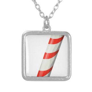 Shiny Candy Cane Silver Plated Necklace